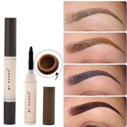 Wholesale eyebrow paint - 2018 Fashion Professional Eye Brow Dye Cream Pencil Long Lasting Waterproof Brown Tint Paint Henna Eyebrow Set Makeup Kit+Gift