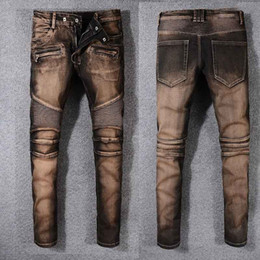 Wholesale Embroidery Twill - 2018 Fashion Men foreign jeans pants motorcycle biker men washing old fold Trousers Casual Runway Denim