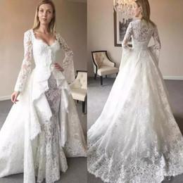 robes de sirène à deux pièces détachables Promotion 2019 robes de mariée en dentelle sirène Vintage manches longues deux pièces trompette cape détachable train chérie robes de mariée