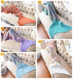 Quilt presentes on-line-5 colors Mermaid Tail Blanket Adult Sofa Acrylic Fibres Knitting Multi Color Fish Scale Grid Quilt Rug Cocoon Sleeping Sack Gift MMA614 30