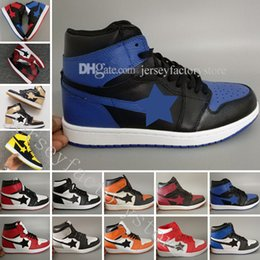 Wholesale Hot Cork - Hot 1 OG TOP 3 Banned Bred Royal Blue Mid hare Mens Basketball Shoes for Men 1s Shattered Backboard Trainers designer Sneakers Shoes US 7-13