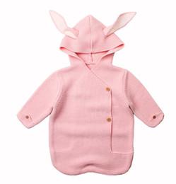 Кролик детское одеяло онлайн-Новорожденный Cute Baby Bunny Длинные уши трикотажные спальные мешки INS моды младенческой кролик ребенка Swaddle обернуть одеяло JN259