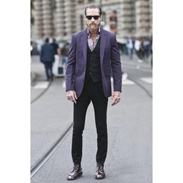 мужской элегантный жилет Скидка Latest Designs Purple Men Suit Custom Fashion Suits mens Elegant Party Tuxedos Men's Daily Work Wear Suit(Jacket+Pant+Vest)