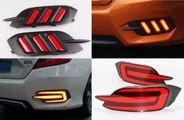 luz do traço led azul flash Desconto 2PCS For Honda Civic 2016 2017 car-styling Multi-function LED 12V tail light Brake warning Lamp Rear Fog Lamp Rear Bumper Light