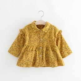Argentina Clear Stock Little Girls Hojas Imprimir Cardigans 2018 Primavera / otoño Ropa para niños Boutique Coreano 1-4T Niñas abrigos abrigos abrigos Suministro