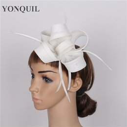 Wholesale Wedding Hat Accessories - NEW ARRIVAL 17 colors imitation sinamay hats feather fascinator hair accessories church millinery cocktail hats wedding headwear