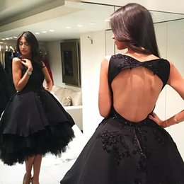 sage black Canada - Sexy Black Ball Gown Short Prom Dresses Jewel Lace Appliques Beaded Knee Length Backless Formal Evening Dress Party Cocktail Gowns