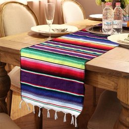 Länglicher tisch online-Mexiko Tische Banner Länglicher Form Tischläufer Baumwolle Regenbogen Tischdecke Geburtstag Party Decor Party Supplies Neu Kommen 9sz C