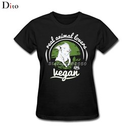 Wholesale Women S Group - Real animal lovers are Vegan Tees Shirt Women Multi-color Short Sleeve Cotton Custom Plus Size Group T-shirts