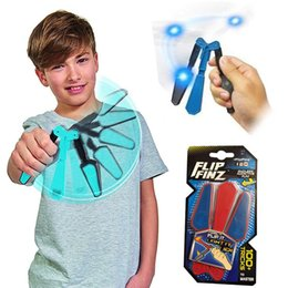 Wholesale Lighting Up Toys - Flip Finz Fidget Plastic Spinner Toys Blue Red Green Twirl Flip Light Up With LED OVP Endless Addictive Fun Assorted Toys For Teenagers