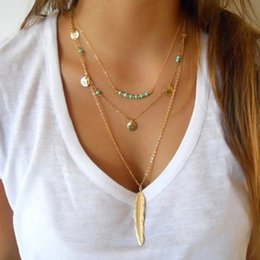 Wholesale Bead Jewelry Vintage - New Fashion Feather Necklace Leaf Layer 3 Necklace Multilayer Necklace Women Beads Sequins Kolye Vintage Easter Pendant Jewelry