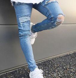 legging destruido Rebajas New Men Spandex Stretch Elastic Jeans Pierna rasgada con agujero apenado destruyó los pantalones vaqueros ocasionales de la moda