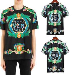 Wholesale Men Silk Short Sleeve Shirt - Medusa t shirts European Mens Summer Cotton T-shirts Green Flower Sun Print Tee Tops Short Sleeve Designer Casual tshirt Homme Bloues