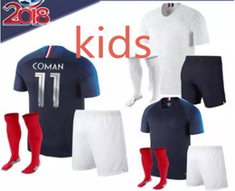 Wholesale Fr S - 18-19France kids kit soccer Jersey World Cup MBAPPE GRIEZMANN KANTE FR national team kids football shirts COMAN AWAY whit socks