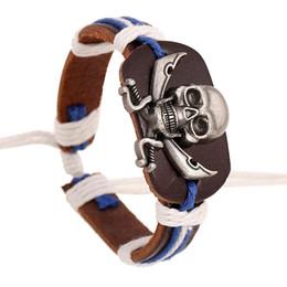 Wholesale Holiday Gift Wrapping - PUNK bracelet Men Skull Head Cuff Bracelets Surfer Tribal Wrap Wrist Women Jewelry Real Cow Leather Bracelet