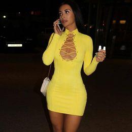 Wholesale Long Sleeve Yellow Bodycon Dress - 2018 Party Dresses Women Bandage Dress Bodycon Winter Long Sleeve Bandage Dress Lace Up Yellow