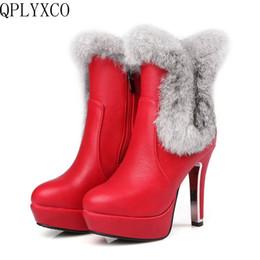 7b64a643854 QPLYXCO 2017 New Sale Genuine Leather Super big  small size 30-48 short boots  Women Fashion Warm Winter Shoes snow boots 5203-7