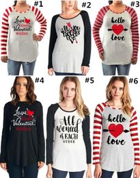 Wholesale Ladies Christmas Clothes - 2018 Womens Valentine's Day Long Sleeve T-shirt Love Letter Printed Strip Casual Pullover Top Clothes for Ladies Girls Maternity Tee Shirt