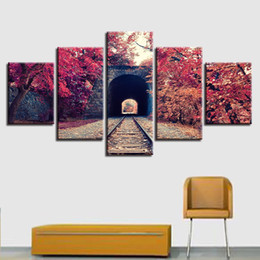 Wholesale train wall art - Modern Prints Modular Canvas Paintings Decor Frame Wall Art 5 Pieces Train Tracks And Autumn Red Tree Landscape Pictures Posters