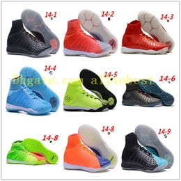 Wholesale Indoor Soccer Sneakers - White Red Rainbow 100% Soccer Shoes Mercurial Superfly V FG Soccer Cleats High Ankle Football Boots Ronaldo Sports Sneakers indoor shoes