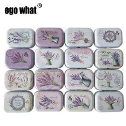 Scatole di latta modellate online-32pcs / lot scatole da collezione scatole di latta piccola scatola di latta bancarelle di stoccaggio di metallo all'ingrosso scatola di caramelle fiore di lavanda pianta modello