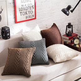 Wholesale White Crochet Pillow - Decorative Pillow Rough knitting pillow pillowcases Home furnishing accessories pillowcases Nordic photography props without pillow,soft