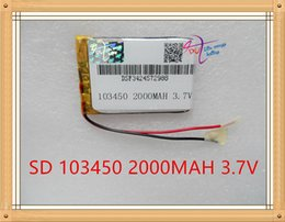 Wholesale Power Bank Lithium Battery - 103450 2000mAh 103450 Lithium Polymer Li-Po Rechargeable DIY Battery For Mp3 GPS PSP mobile phone power bank electronic part