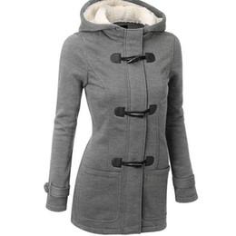 mulher casaco carreira preto Desconto Casaco de mulheres Outono Inverno Plus Size Casaco Feminino Longo Com Capuz Jaqueta Zipper Botão Chifre Outwear Manter Casacos de Senhoras Quentes