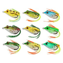 Wholesale Mixed Lures - Topwater Wobble Artificial Rubber Frog Lure 4.5cm-5g 5cm-8g 5.5cm-12g Lifelike Frog Snakehead Soft Bait with Box mix colors