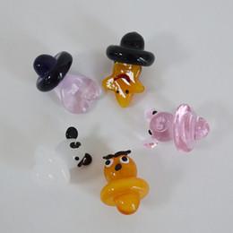 2019 gorras de búho Color de cristal Carb Cap Owl Star Panda Pink Pig Heart Universal Animal Carb Cap Dome para Banger Elegante UFO Carb Caps 22mm de diámetro gorras de búho baratos