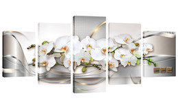 Wholesale orchid flower oil painting - 5 Panels Butterfly Orchid Flower Canvas Print Wall Art Painting for Home Decoration Modern Wall Picture for Bedroom Framed Ready to Hang