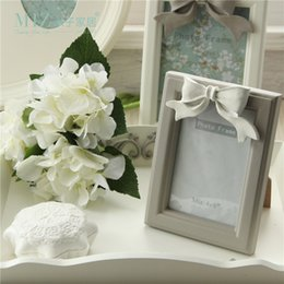 Wholesale Resin Photo Frame Picture - Miz Original 1 Piece Vintage Wooden Resin White 6 Inch Picture Frame Family Photo Bow Knot Home Decor Chiristams Gift