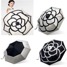 Wholesale Wholesale Uv Umbrella - Luxury Camellia Flower Umbrella Women 3 -Fold UV Shade Protection Sunny And Rainy Umbrella 2Colors WX9-324