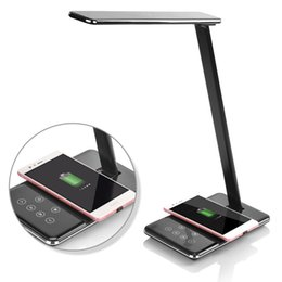Wholesale Abs Charger - LED Desk Lamp with Qi Wireless Charger Folding Eye-friendly Table Lamps 4 Color Modes Book Light with Wireless Desktop Charger USB charging