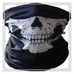 Bandana de la cara de la motocicleta online-Nueva función de máscaras de ciclismo Bandana Sombreros y gorras Cráneo Bandana Motocicleta Casco Cuello Máscaras faciales Motocicleta Bicicleta Bicicleta Tubo negro