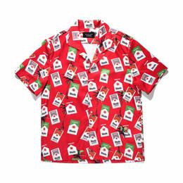 Hip hop street mens ropa online-Camisa de calle de niebla negra Camisa de calle amarilla de los hombres de la marca de moda de diseño orignal camisas hombres llanura ropa de hip hop para hombre floral
