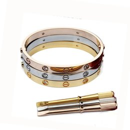 Wholesale Branded Bracelets - Brand logo Stainless Steel love bracelet Titanium Couples bracelet with Screwdriver bracelets cuff bangles For Women men Love Jewelry