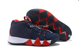 Wholesale Usa Patents - Free Shipping kyries 4 USA Basketball Shoes Mens kyrie 4 irving Navy Blue White Red Sneaker For Sale Size US 7-12
