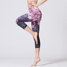 Wholesale pink dance tights - Cherry Printed Yoga Pants Bandage Pants Slim Quick Dry Sports Leggings Yoga Dancing Tights Jogging Running Fitness Trouser S-XL