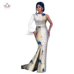 Afrika Tarzı Kadınlar için 2017 Moda Afrika Elbiseler Vestidos Dantel pathwork Parti WY2630 için Dashiki O-Boyun Yaka Elbise cheap african fashion style lace nereden afrika moda stili dantel tedarikçiler