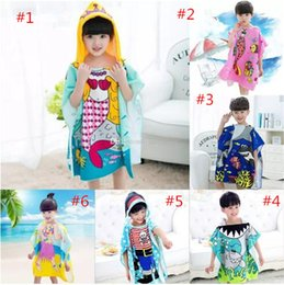 Wholesale Mermaids Child - 8 styles Mermaid bathrobe Kids Robes cartoon animal shark Nightgown Children Towels Hooded bathrobes B11
