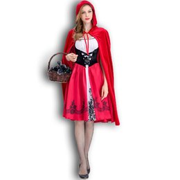 château rouge Promotion Vente chaude Stage Wear Customes Nouveau Petit Chaperon Rouge Costume Château Reine Costume Halloween Cosplay Uniforme Adulte Cosplay Costumes