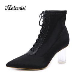 Botas de fios on-line-MAIERNISI Inverno Mulheres Sapatos Botas de Mulher Moda Fios Elastic Ankle Boots De Luxo Mulher Feminina lace-up Meias