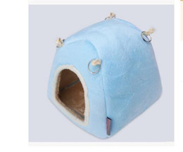 Wholesale Hutch Cage - Drop shipping Winter Hedgehog Guinea Pig Bed Warm Soft Hamster Hanging Bed House 16*16*16cm ANI-178