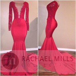 Wholesale Cheap Plus Size Maternity - 2K18 Red Mermaid Prom Dresses Evening Wear Lace Applique Sequin Celebrity Gowns Sweep Train Long Sleeves Party Dress Cheap