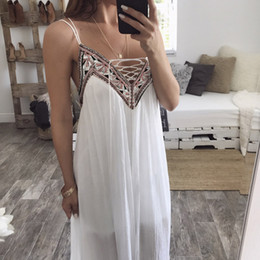 Wholesale United Ribbons - Europe and the United States spring and summer chiffon embroidery splicing strap dress beach dress new women's wholesale