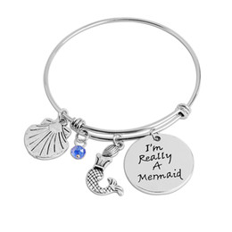 Wholesale adjustable silver bangle bracelets - i'm really a Mermaid bangle for little girl Bracelet women animal Mermaid shell Party Dress adjustable bracelets and Bangles