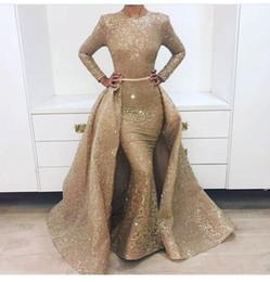vestidos de quinceañera Desconto New Impressionante manga comprida vestidos de baile de ouro Saia destacável com a agitação 2 peças vestido de noite Australia Design 1702