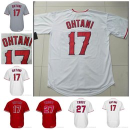 Wholesale blue black white - 17 Shohei Ohtani Los Angeles Jersey 27 Mike Trout Baseball Jerseys Stitched White Red Grey Mens Women Youth