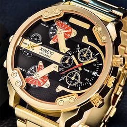 0c199f2f6e8 XINEW Relógios de Grandes Dimensões Homens Dual Time Luxo Big Face Relógio  de Quartzo Marca Original Relógio de Pulso Relogio masculino